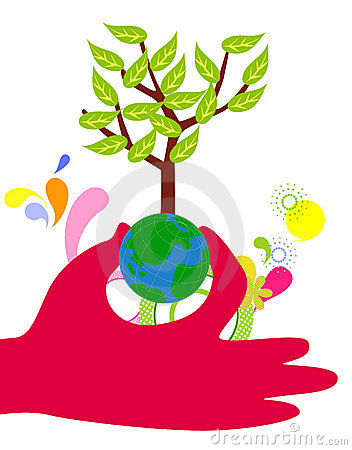 Hands hold the globe tree