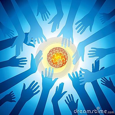 Hands hold set of bulb idea, save energy