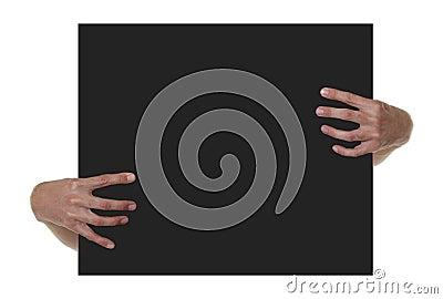 Hands Holding Black Blank Sign