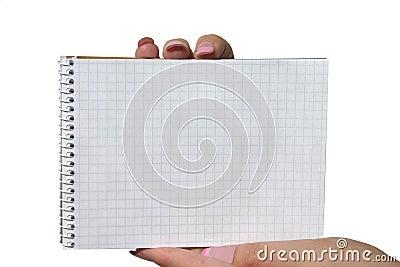 Hands holding blank spiral notebook
