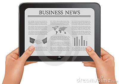 Hands holding digital tablet pc with business news