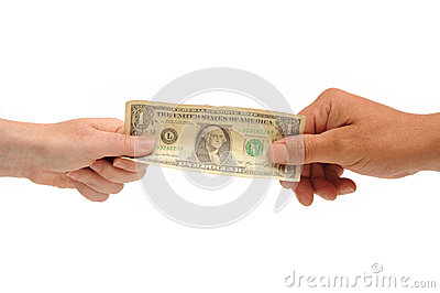 Hands holding dollar bill