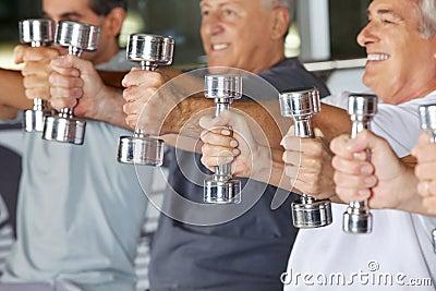 Hands holding dumbbells in gym