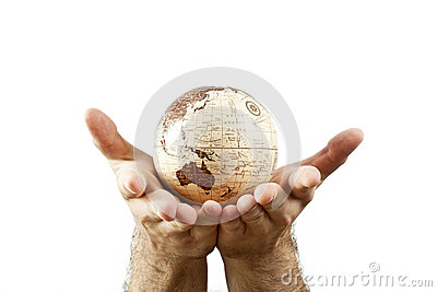 Hands holding Earth globe