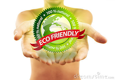 Hands holding eco friendly sign