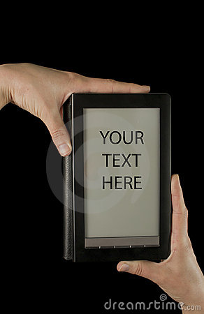 Hands holding an electronic book reader