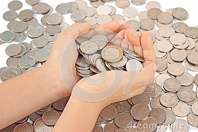 Hands holding euro coins