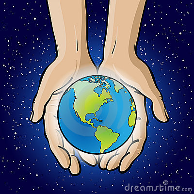 Hands Holding Planet.