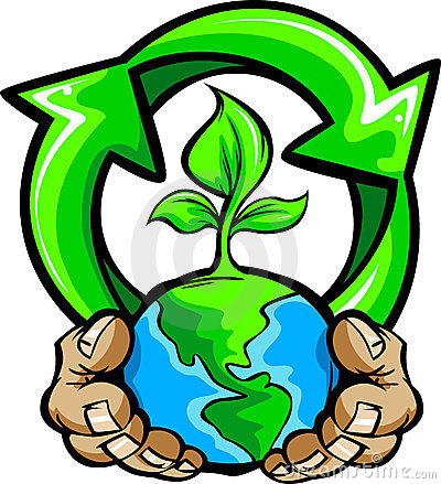Hands Holding Planet Earth with Recycle Symbol