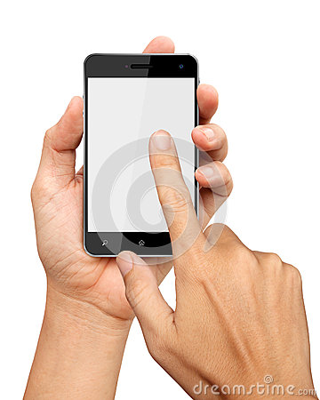Hands are holding and point on Smart Phone