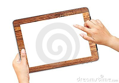 Hands holding and point on tablet PC
