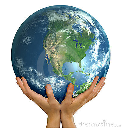 Hands holding realistic globe facing North America