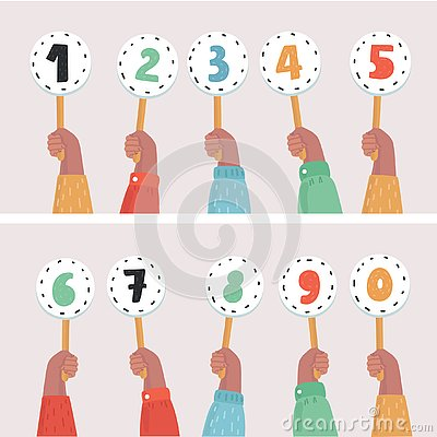 Free Hands Holding Score Cards. Numbers Set Stock Photography - 139156052