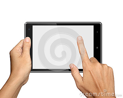 Hands are holding Tablet PC on white