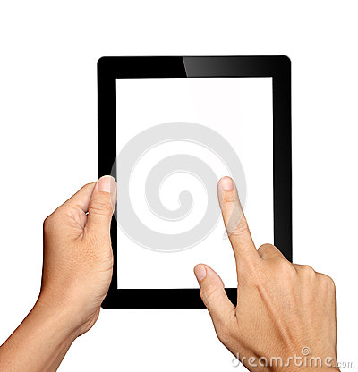 Hands holding and touching on tablet pc