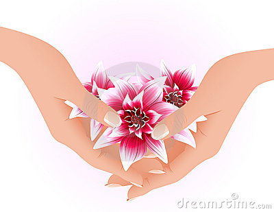 Hands holding tropical flowers