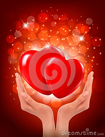 Free  Hands Holding Two Red Hearts. Vector Royalty Free Stock Photography - 28670387
