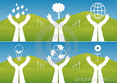 Hands Holding Up Ecological Symbols