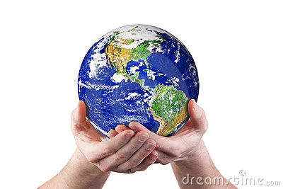 Hands holding world environment