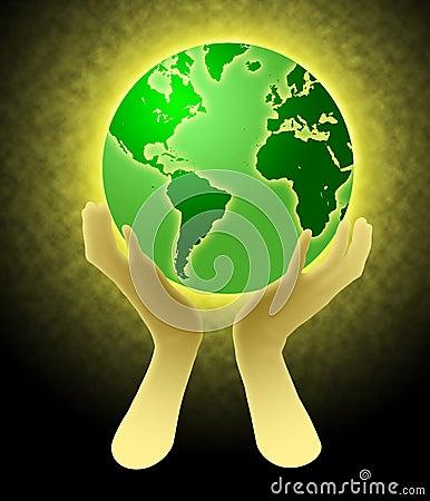 Hands Holding World Globe Illustration