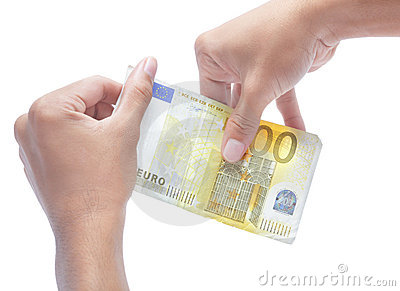 Hands holding zero value euro note