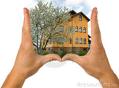 Hands and house
