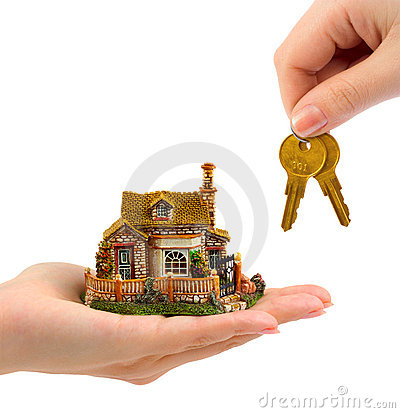 Hands with house and keys