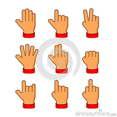 Hands Icons Set on White Background. Emoji Vector Vector Illustration