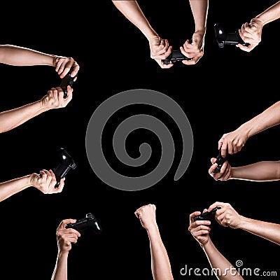 Hands with joysticks set Stock Photo