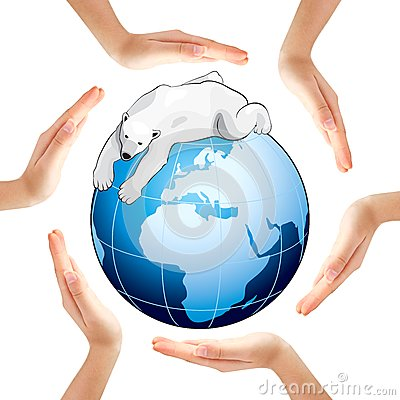 Hands making a circle with Earth and polar bear