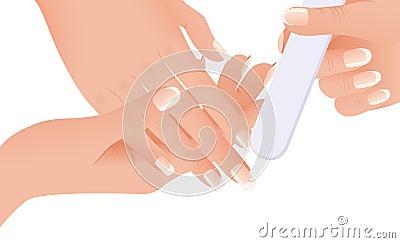 Hands making manicure