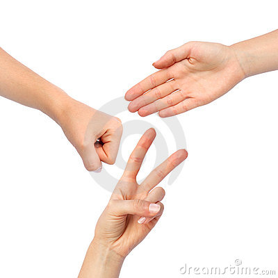 Free Hands Making Paper Rock Scissors Royalty Free Stock Photos - 18406818