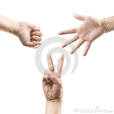 Free Hands Making: Rock, Paper, Scissors Royalty Free Stock Photography - 28388447