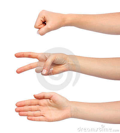 Free Hands Making Rock Scissors Paper Royalty Free Stock Photography - 18406827