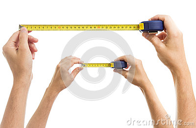 Hands with measure tape set