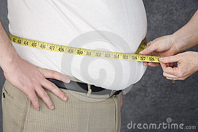 Hands Measuring Abdomen Of Obese Man