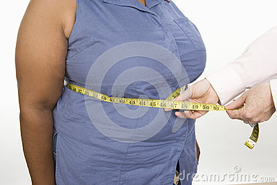 Hands Measuring Abdomen Of An Obese Woman