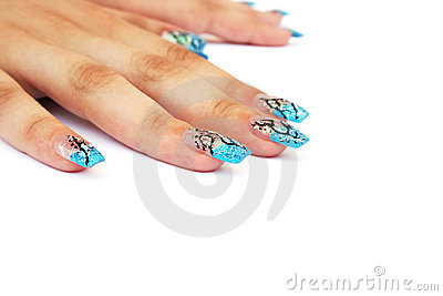 Hands with nail art