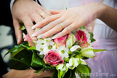 Hands of newly married