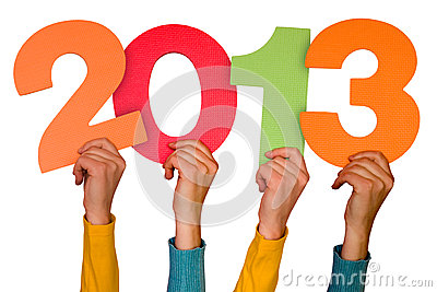 Hands with numbers shows year 2013