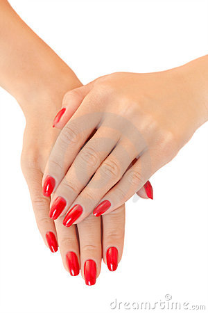 Free Hands Of A Young Women.  Red Nail Polish Stock Photo - 10789680