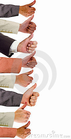 Free Hands Of Business People With Thumbs Up Stock Image - 11916621