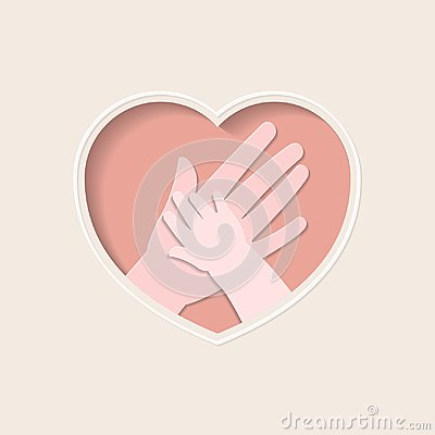 Free Hands Of Mother And Baby In Heart Shaped Paper Art Stock Image - 107073371