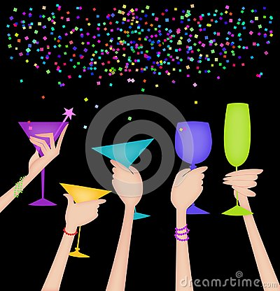 Free Hands Of Women Raising Glasses In A Toast On Black Stock Photos - 103511563