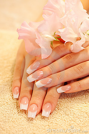 Free Hands Of Young Woman With French Manicure Royalty Free Stock Photos - 11600218