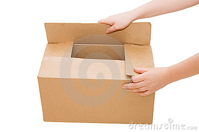 Hands open a cardboard box isolated