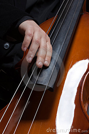 Hands playing electic contrabass