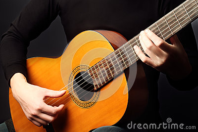 Hands Playing Guitar Classic Stock Photo - Image: 52682099