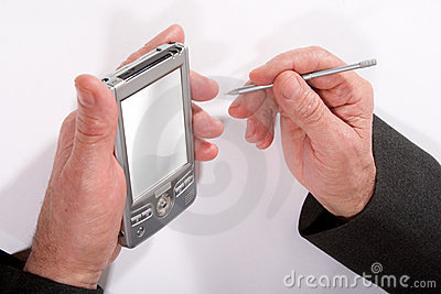 Hands with pocket pc