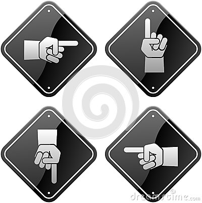 Hands pointing signs